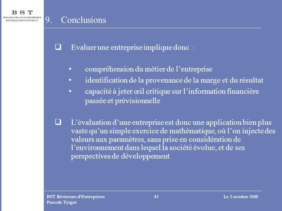 Le 2 octobre 2010BST Réviseurs dEntreprises Pascale Tytgat 42 9.Conclusions Evaluer une entreprise implique donc : compréhension du métier de lentrepr