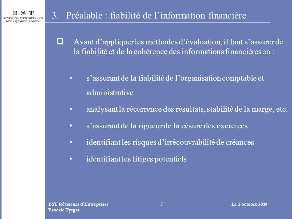 Le 2 octobre 2010BST Réviseurs dEntreprises Pascale Tytgat 7 3.Préalable : fiabilité de linformation financière Avant dappliquer les méthodes dévaluat