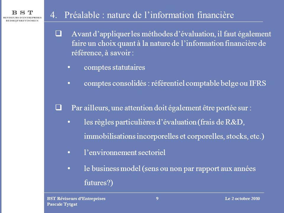 Le 2 octobre 2010BST Réviseurs dEntreprises Pascale Tytgat 9 4.Préalable : nature de linformation financière Avant dappliquer les méthodes dévaluation