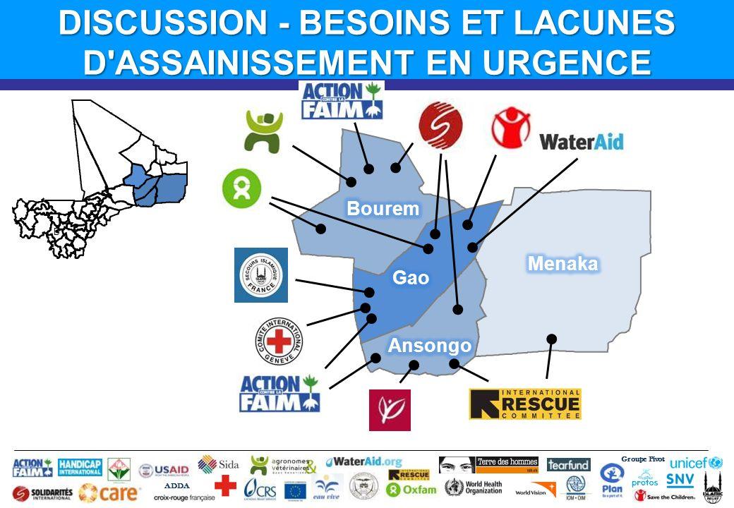 B Groupe Pivot ADDA DISCUSSION - BESOINS ET LACUNES D'ASSAINISSEMENT EN URGENCE