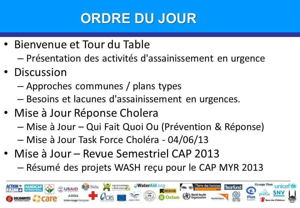 Groupe Pivot ADDA Introduction ORDRE DU JOUR Bienvenue et Tour du Table – Présentation des activités d'assainissement en urgence Discussion – Approche