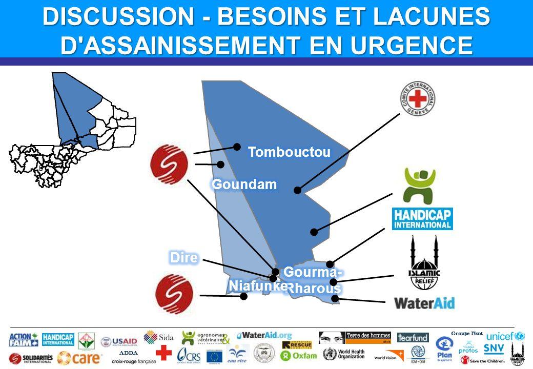Groupe Pivot ADDA B DISCUSSION - BESOINS ET LACUNES D'ASSAINISSEMENT EN URGENCE