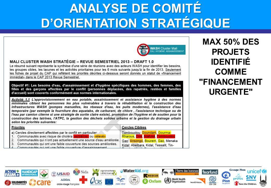 Groupe Pivot ADDA ANALYSE DE COMITÉ DORIENTATION STRATÉGIQUE MAX 50% DES PROJETS IDENTIFIÉ COMME