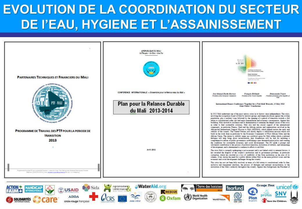 Groupe Pivot ADDA EVOLUTION DE LA COORDINATION DU SECTEUR DE lEAU, HYGIENE ET LASSAINISSEMENT