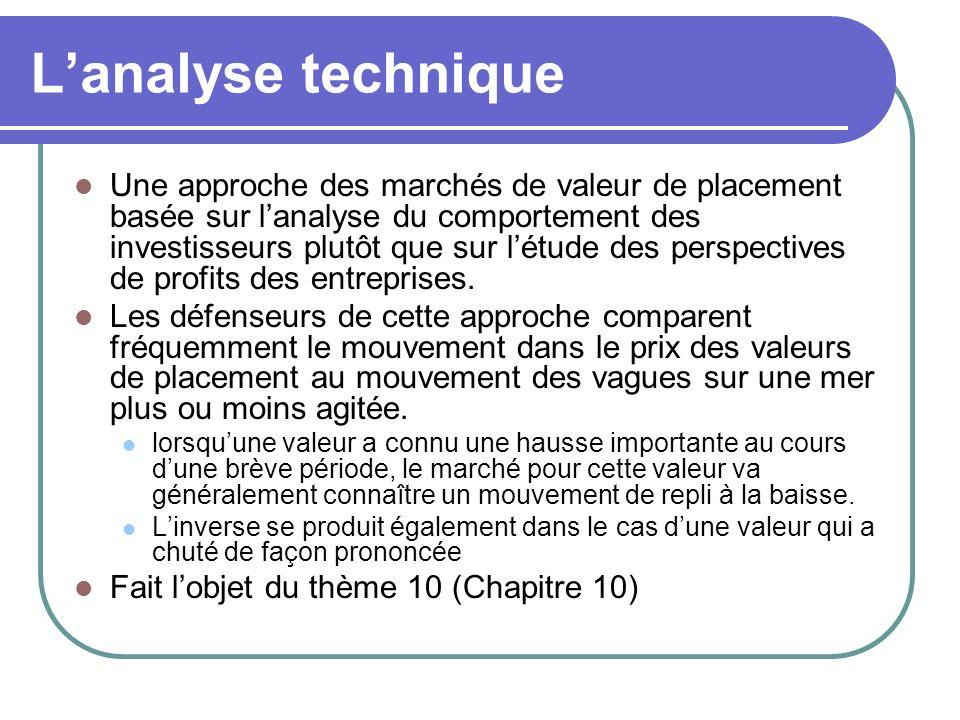 Lanalyse technique Une approche des marchés de valeur de placement basée sur lanalyse du comportement des investisseurs plutôt que sur létude des perspectives de profits des entreprises.