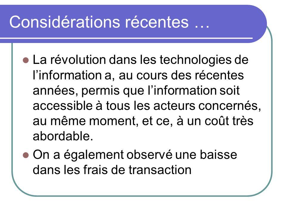 Considérations récentes … La révolution dans les technologies de linformation a, au cours des récentes années, permis que linformation soit accessible à tous les acteurs concernés, au même moment, et ce, à un coût très abordable.
