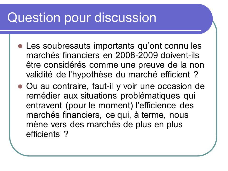 Question pour discussion Les soubresauts importants quont connu les marchés financiers en 2008-2009 doivent-ils être considérés comme une preuve de la non validité de lhypothèse du marché efficient .
