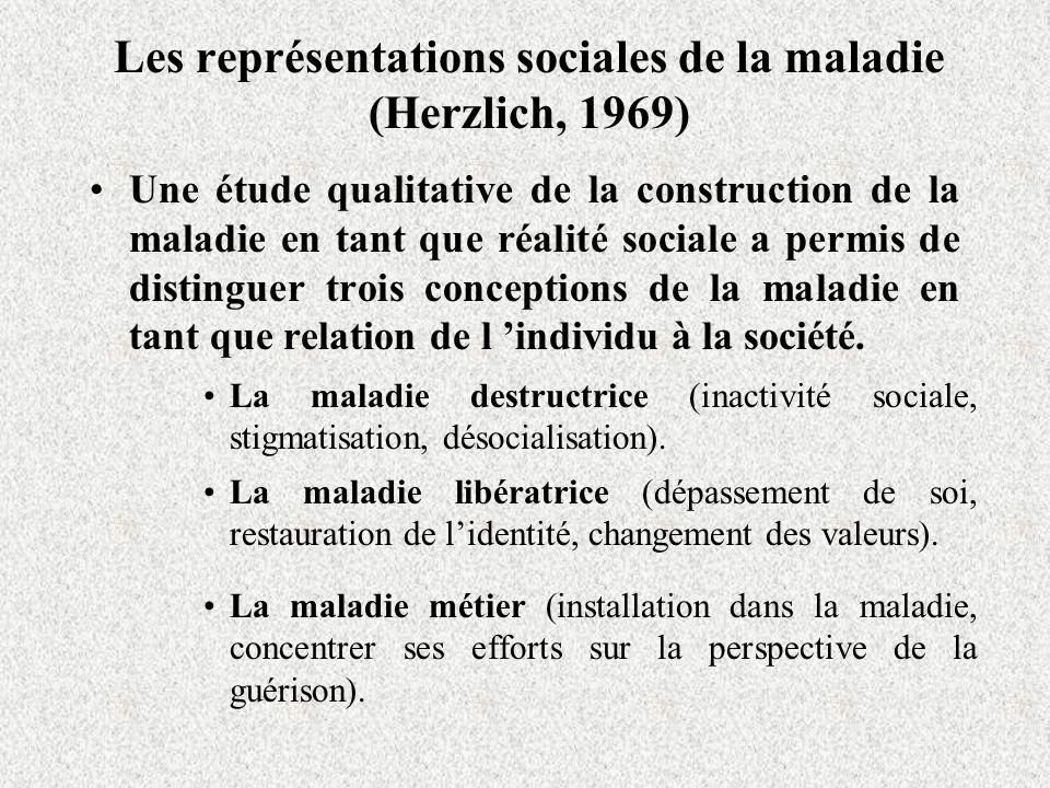 Les représentations sociales de la maladie (Herzlich, 1969) Une étude qualitative de la construction de la maladie en tant que réalité sociale a permis de distinguer trois conceptions de la maladie en tant que relation de l individu à la société.
