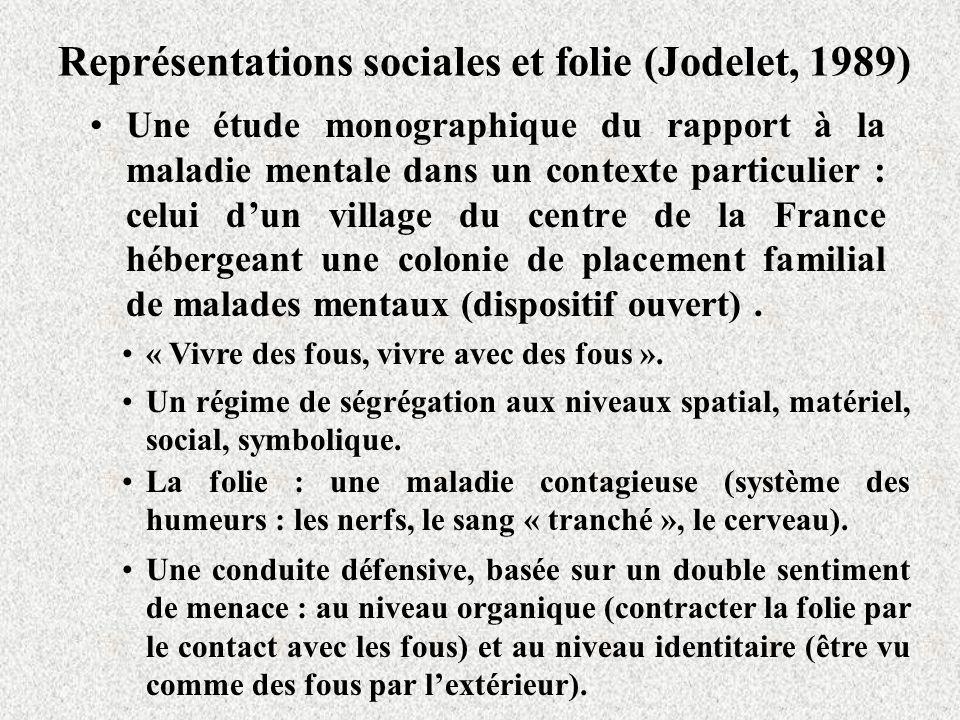 Représentations sociales et folie (Jodelet, 1989) Une étude monographique du rapport à la maladie mentale dans un contexte particulier : celui dun village du centre de la France hébergeant une colonie de placement familial de malades mentaux (dispositif ouvert).
