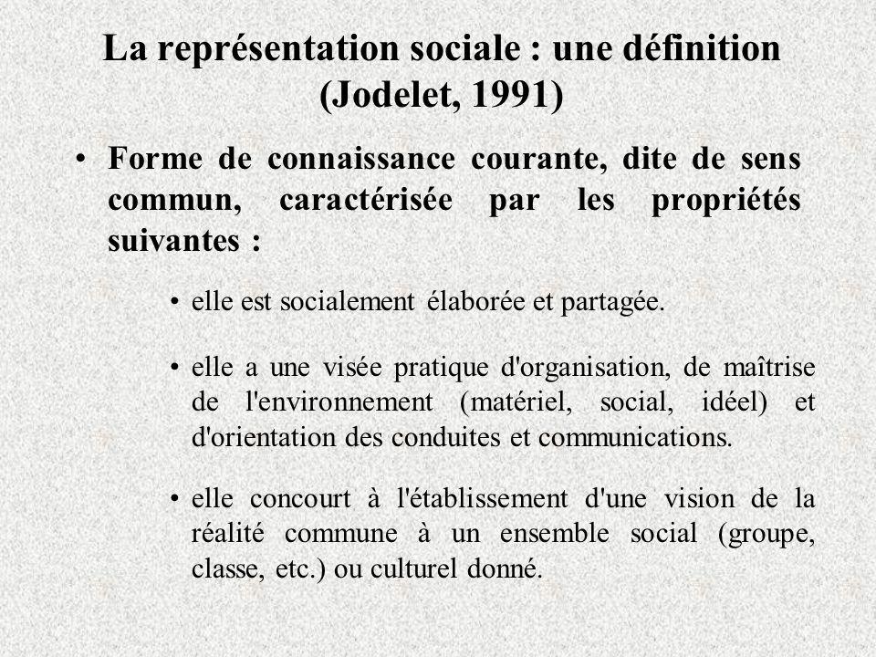 La représentation sociale : une définition (Jodelet, 1991) Forme de connaissance courante, dite de sens commun, caractérisée par les propriétés suivantes : elle est socialement élaborée et partagée.