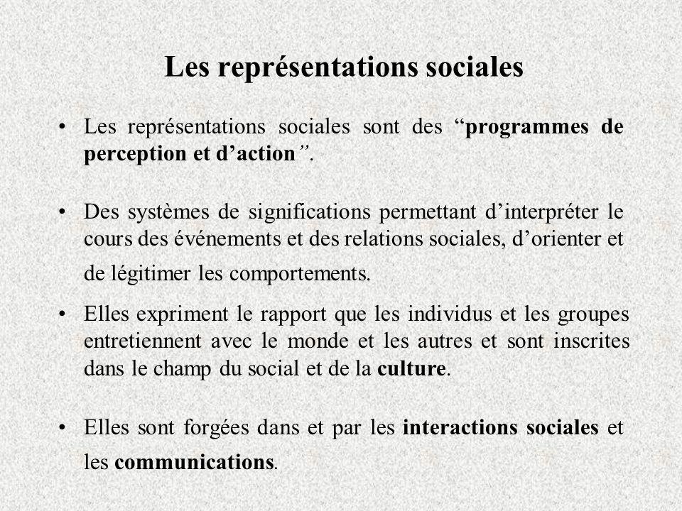 Les représentations sociales Les représentations sociales sont des programmes de perception et daction.