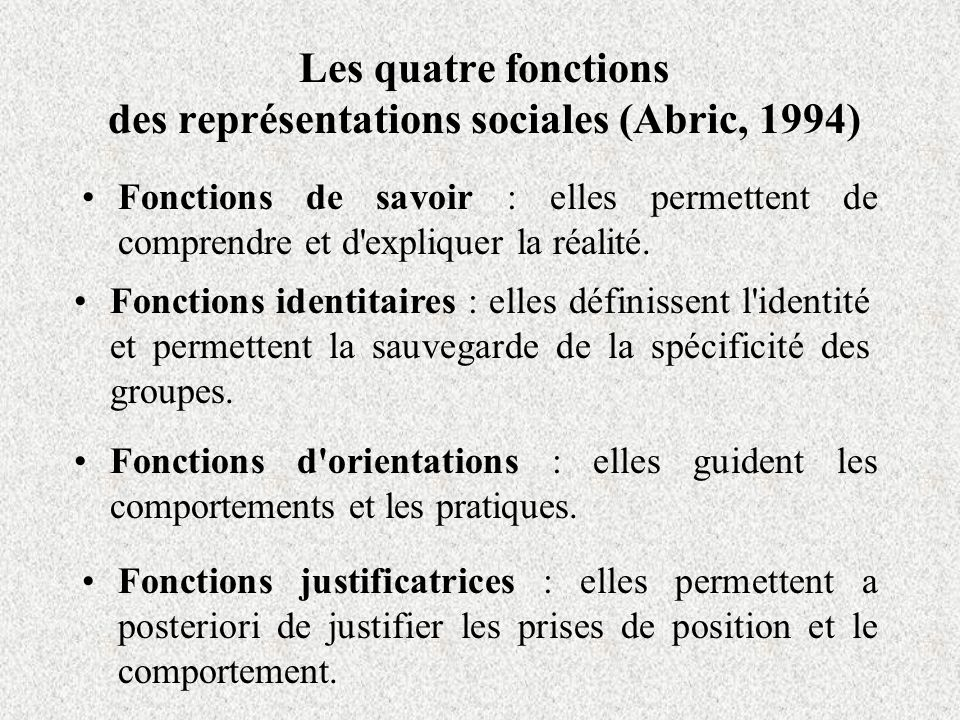 Les quatre fonctions des représentations sociales (Abric, 1994) Fonctions de savoir : elles permettent de comprendre et d expliquer la réalité.