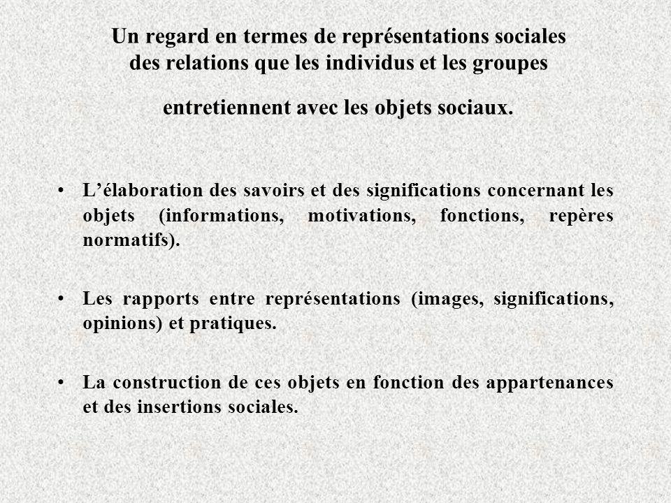 Un regard en termes de représentations sociales des relations que les individus et les groupes entretiennent avec les objets sociaux.