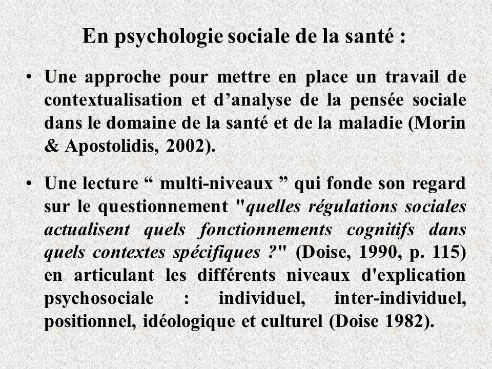 En psychologie sociale de la santé : Une approche pour mettre en place un travail de contextualisation et danalyse de la pensée sociale dans le domaine de la santé et de la maladie (Morin & Apostolidis, 2002).