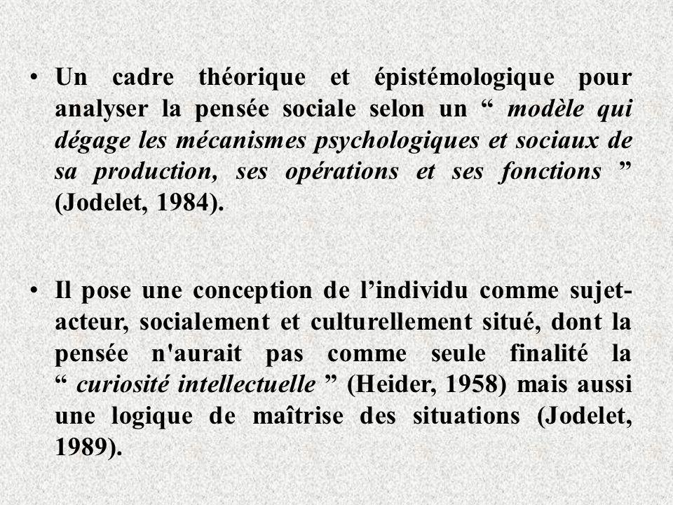 Un cadre théorique et épistémologique pour analyser la pensée sociale selon un modèle qui dégage les mécanismes psychologiques et sociaux de sa production, ses opérations et ses fonctions (Jodelet, 1984).