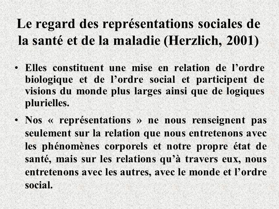 Le regard des représentations sociales de la santé et de la maladie (Herzlich, 2001) Elles constituent une mise en relation de lordre biologique et de lordre social et participent de visions du monde plus larges ainsi que de logiques plurielles.