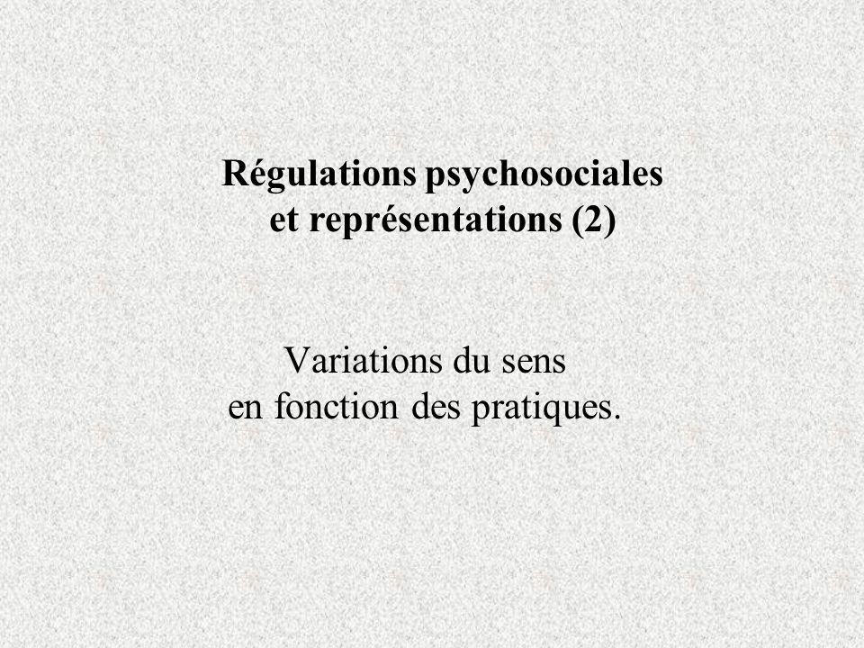 Variations du sens en fonction des pratiques. Régulations psychosociales et représentations (2)