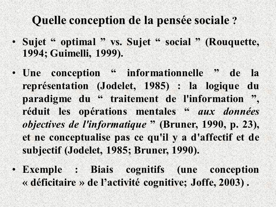 Quelle conception de la pensée sociale .Sujet optimal vs.