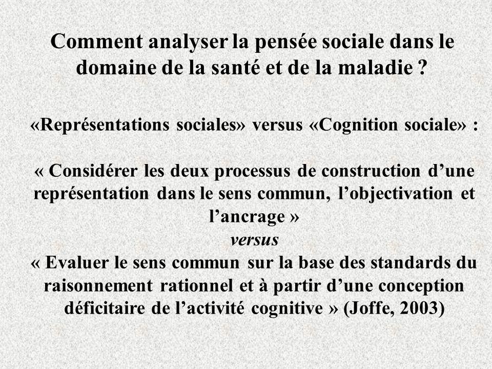 Comment analyser la pensée sociale dans le domaine de la santé et de la maladie .