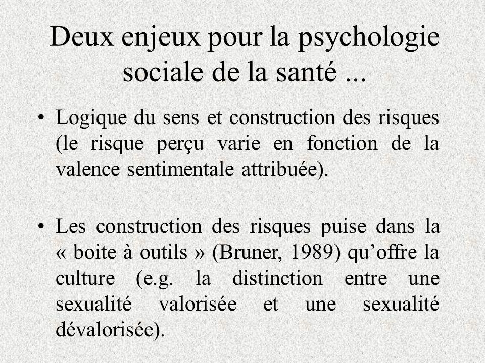 Deux enjeux pour la psychologie sociale de la santé...