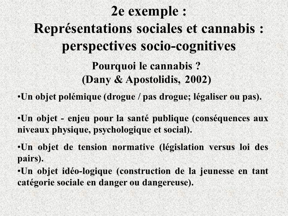2e exemple : Représentations sociales et cannabis : perspectives socio-cognitives Pourquoi le cannabis .