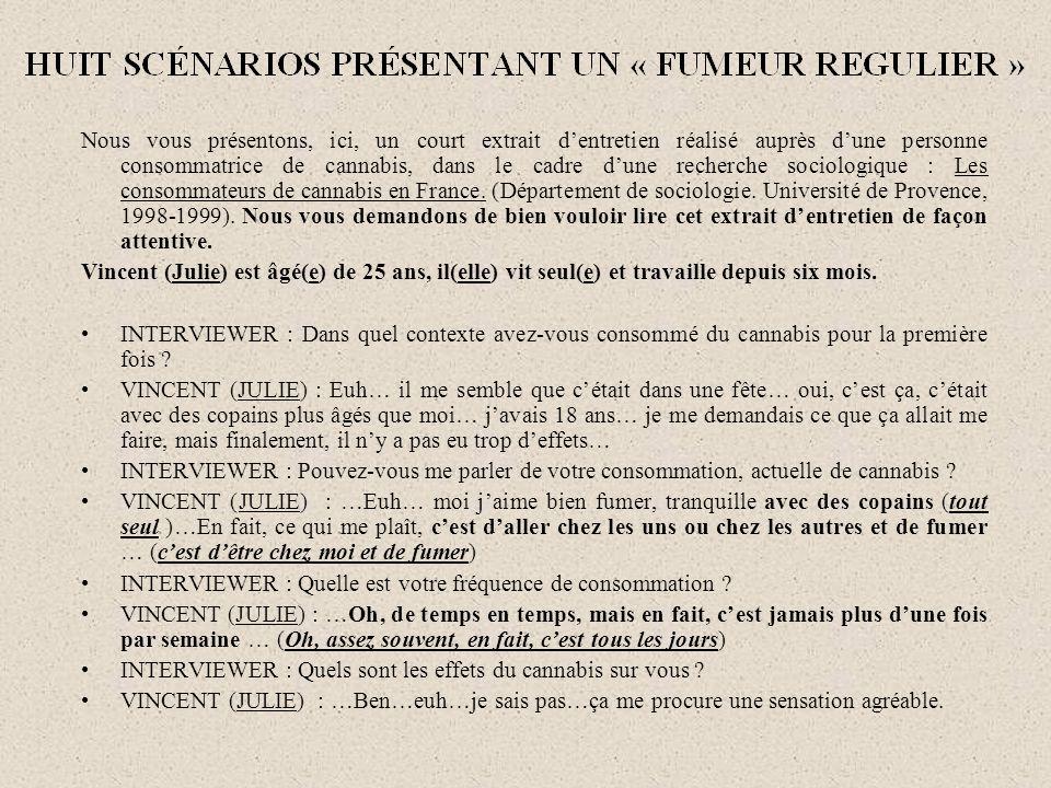 Nous vous présentons, ici, un court extrait dentretien réalisé auprès dune personne consommatrice de cannabis, dans le cadre dune recherche sociologique : Les consommateurs de cannabis en France.