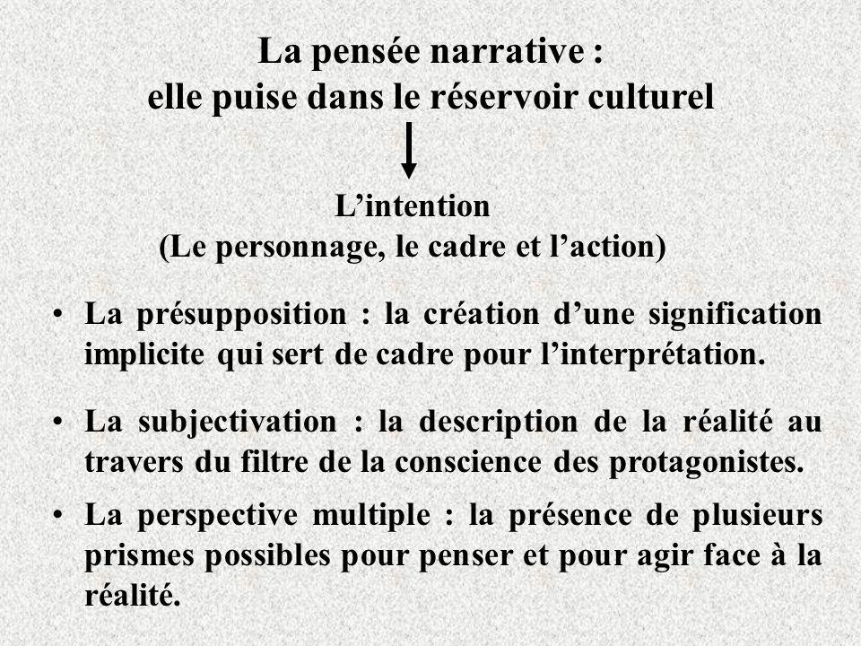 La pensée narrative : elle puise dans le réservoir culturel Lintention (Le personnage, le cadre et laction) La présupposition : la création dune signification implicite qui sert de cadre pour linterprétation.
