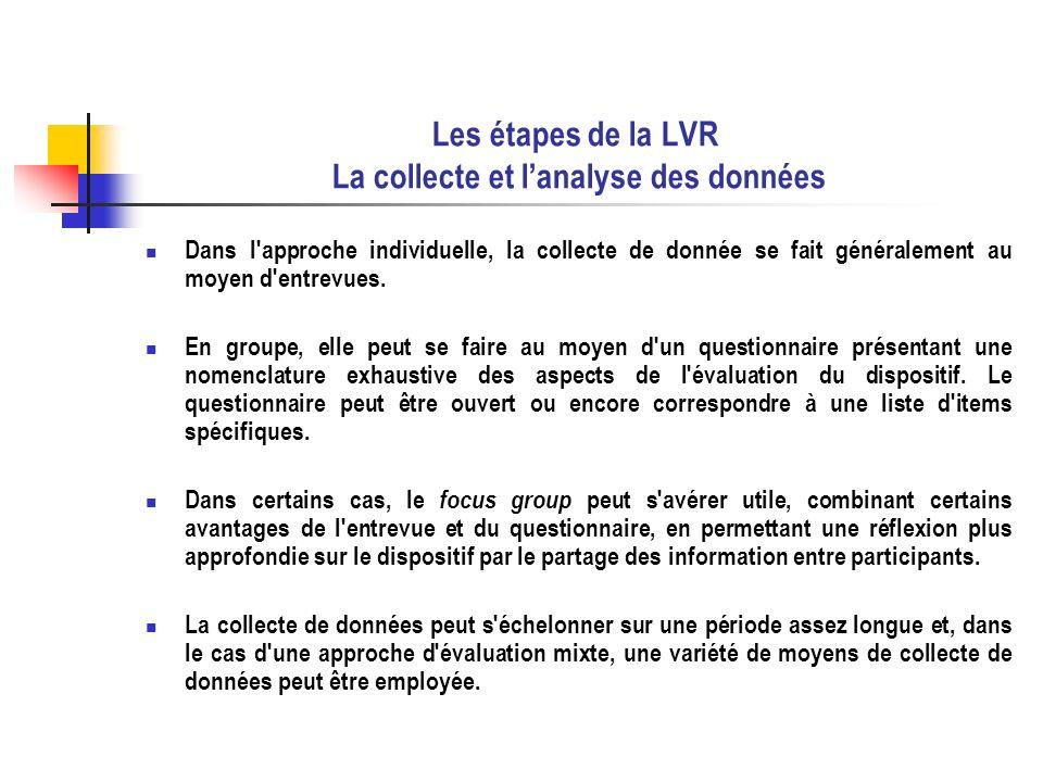 Les étapes de la LVR La collecte et lanalyse des données Dans l'approche individuelle, la collecte de donnée se fait généralement au moyen d'entrevues