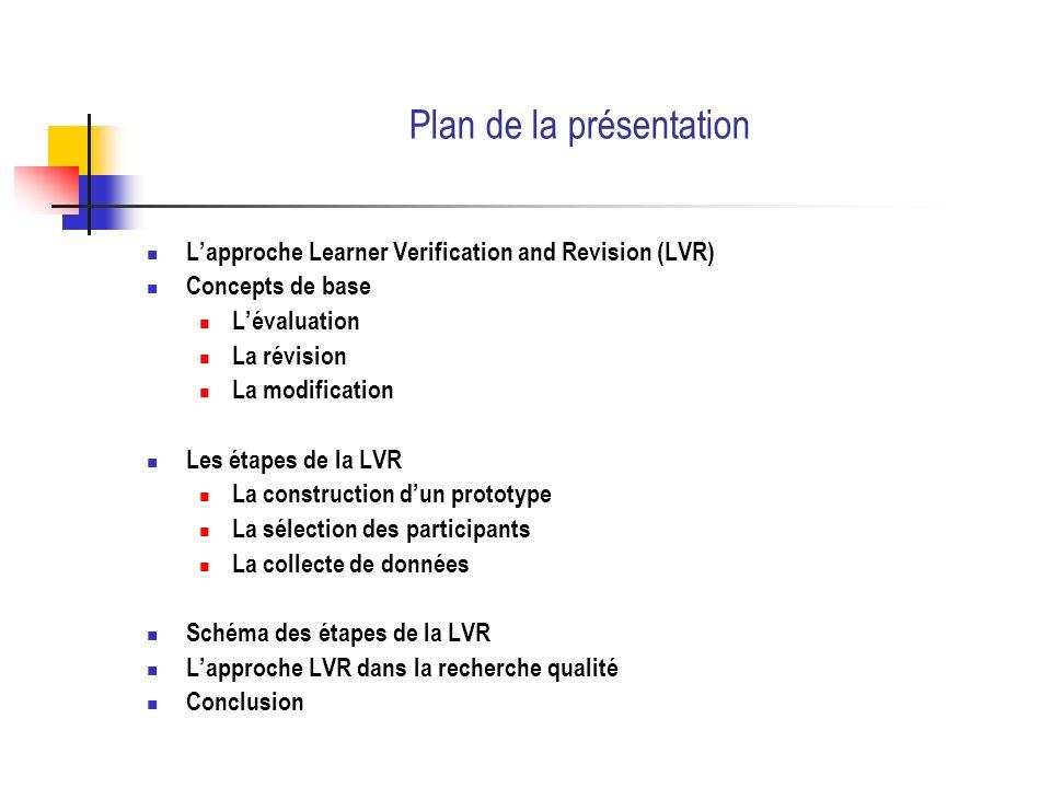 Les étapes de la LVR Lévaluation Lévaluation mixte Selon le besoin, une approche mixte peut être employée.