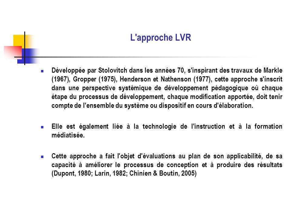 L approche LVR Selon Stolovitch (1983) et Chinien et Boutin (2005), l approche Learner Verification and Revision (LVR) se conçoit comme une évaluation en cours de construction afin d identifier et de corriger les erreurs par un processus de mise à l épreuve répétée du matériel ou dispositif en développement.