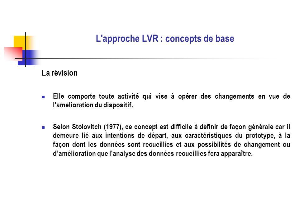 L'approche LVR : concepts de base La révision Elle comporte toute activité qui vise à opérer des changements en vue de l'amélioration du dispositif. S