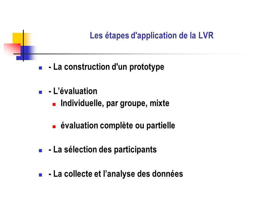 Les étapes d'application de la LVR - La construction d'un prototype - Lévaluation Individuelle, par groupe, mixte évaluation complète ou partielle - L