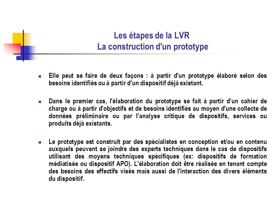 Les étapes de la LVR La construction d un prototype Dans le second cas, un dispositif existant est modifié de façon à rencontrer les besoins identifiés et est soumis à une évaluation initiale.