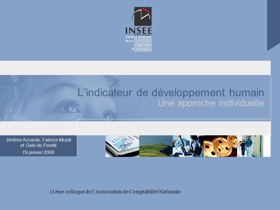 Jérôme Accardo, Fabrice Murat et Gaël de Peretti 19 janvier 2006 11ème colloque de lAssociation de Comptabilité Nationale Lindicateur de développement