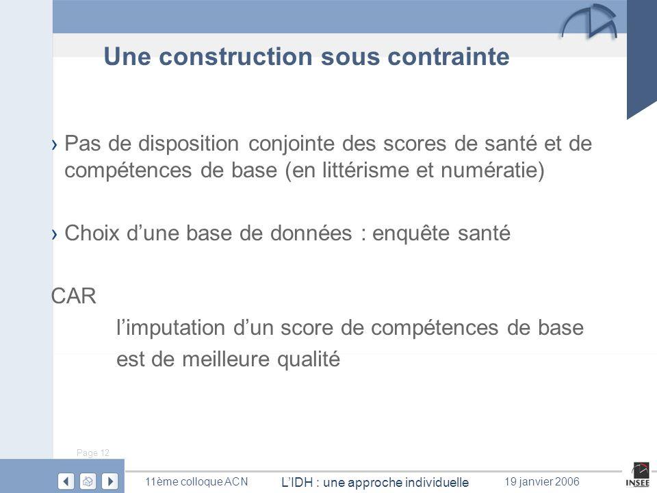 Page 12 LIDH : une approche individuelle 11ème colloque ACN19 janvier 2006 Une construction sous contrainte Pas de disposition conjointe des scores de