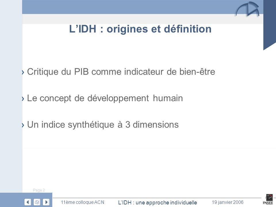Page 2 LIDH : une approche individuelle 11ème colloque ACN19 janvier 2006 LIDH : origines et définition Critique du PIB comme indicateur de bien-être
