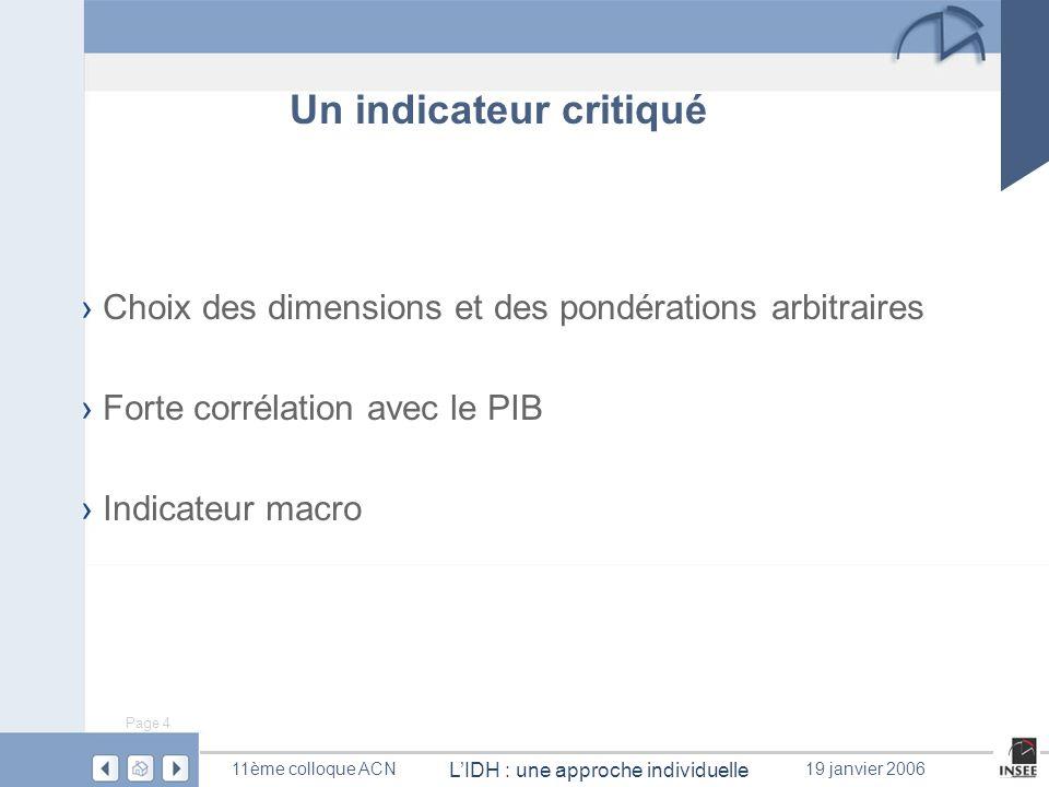 Page 4 LIDH : une approche individuelle 11ème colloque ACN19 janvier 2006 Un indicateur critiqué Choix des dimensions et des pondérations arbitraires
