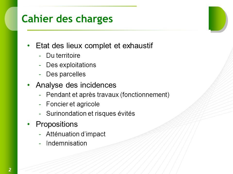Cahier des charges Etat des lieux complet et exhaustif -Du territoire -Des exploitations -Des parcelles Analyse des incidences -Pendant et après trava