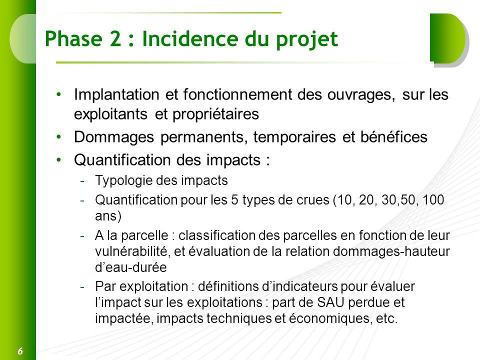 Phase 2 : Incidence du projet Implantation et fonctionnement des ouvrages, sur les exploitants et propriétaires Dommages permanents, temporaires et bé