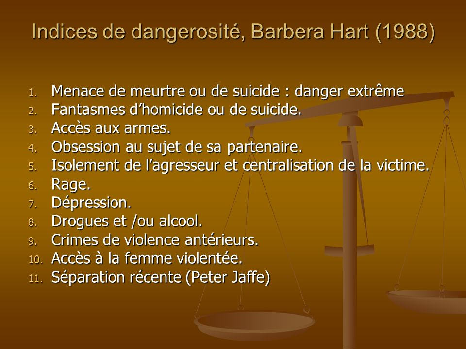 Indices de dangerosité, Barbera Hart (1988) 1. Menace de meurtre ou de suicide : danger extrême 2.