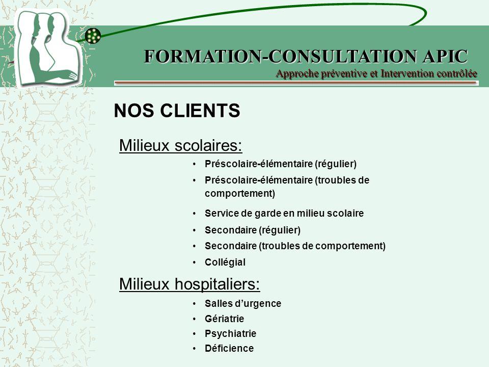 NOS COORDONNÉES FORMATION-CONSULTATION APIC 500 Boul.