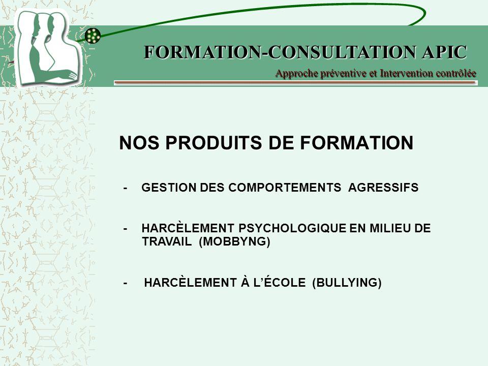 NOS PRODUITS DE FORMATION -GESTION DES COMPORTEMENTS AGRESSIFS -HARCÈLEMENT PSYCHOLOGIQUE EN MILIEU DE TRAVAIL (MOBBYNG) Approche préventive et Interv