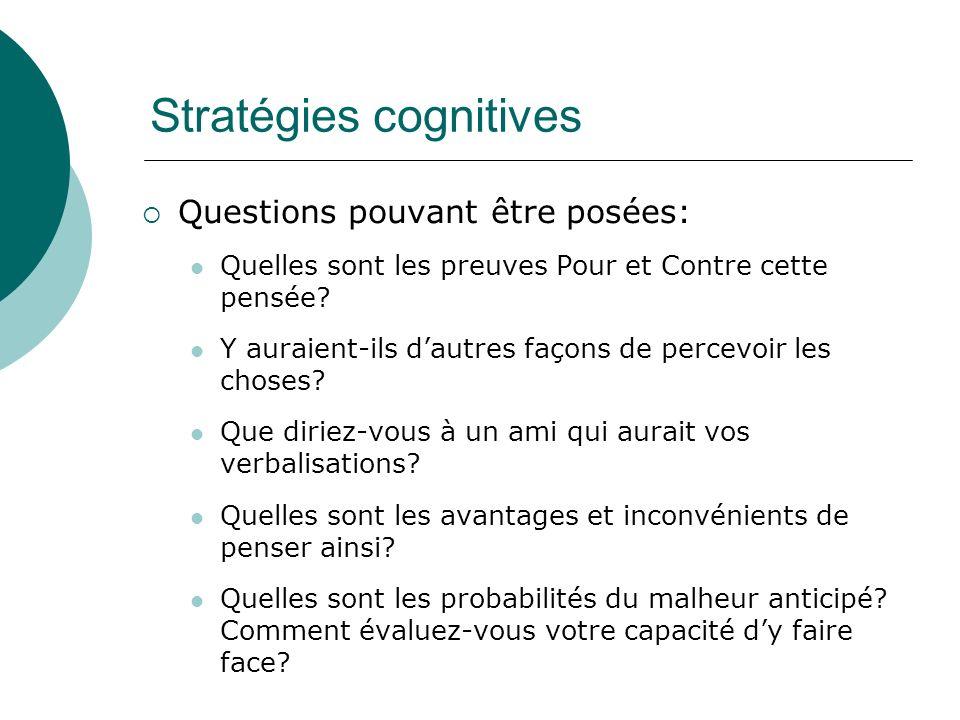 Stratégies cognitives Questions pouvant être posées: Quelles sont les preuves Pour et Contre cette pensée? Y auraient-ils dautres façons de percevoir