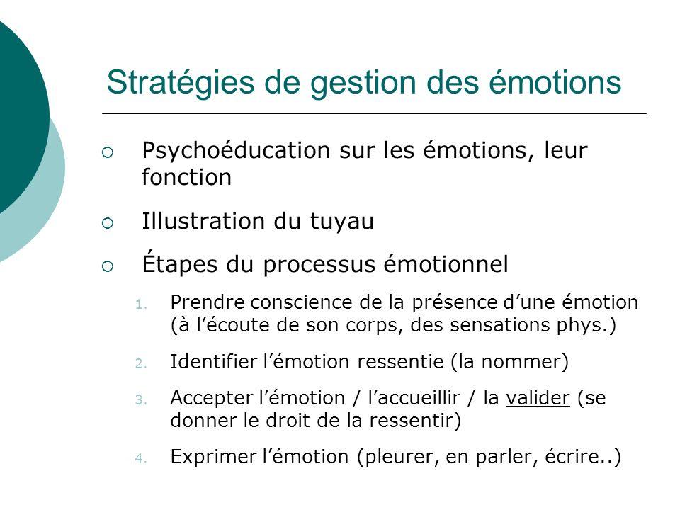 Stratégies de gestion des émotions Psychoéducation sur les émotions, leur fonction Illustration du tuyau Étapes du processus émotionnel 1. Prendre con
