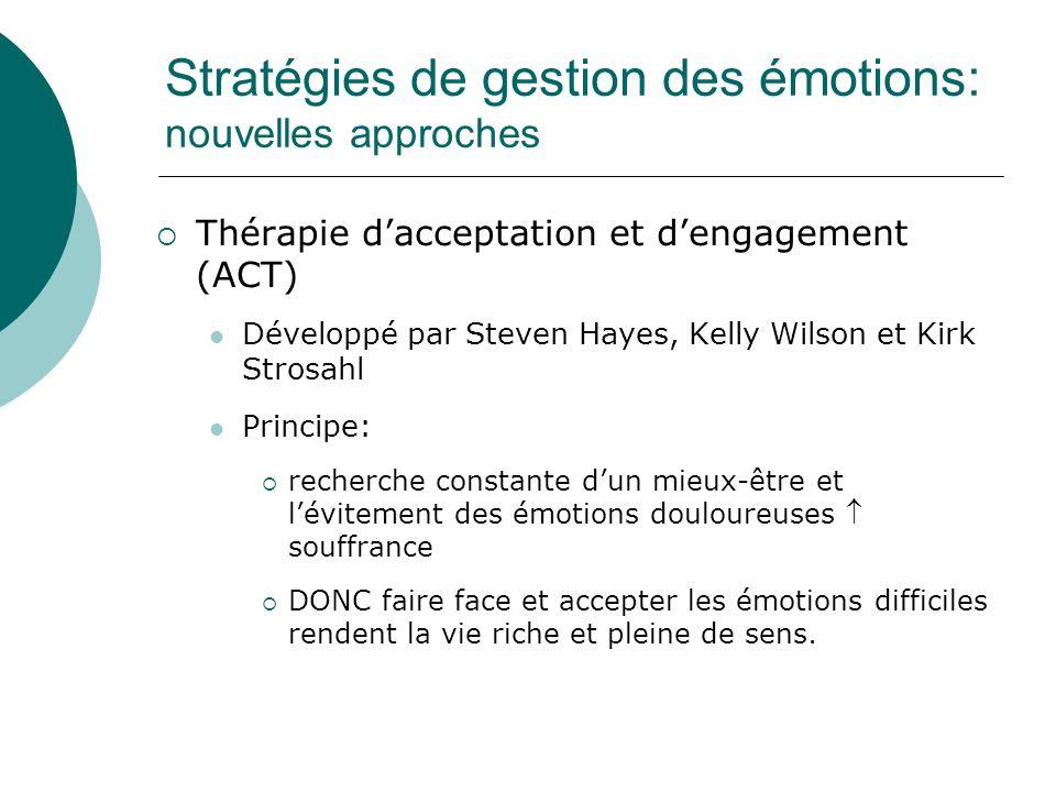 Stratégies de gestion des émotions: nouvelles approches Thérapie dacceptation et dengagement (ACT) Développé par Steven Hayes, Kelly Wilson et Kirk St