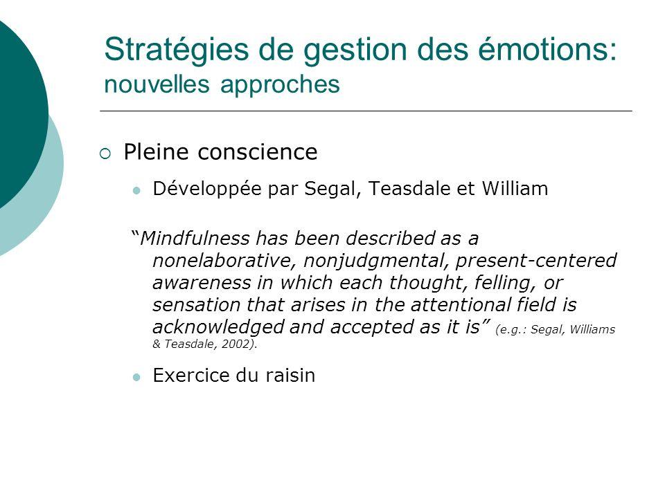 Stratégies de gestion des émotions: nouvelles approches Pleine conscience Développée par Segal, Teasdale et William Mindfulness has been described as