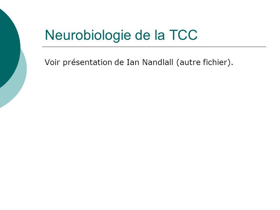 Neurobiologie de la TCC Voir présentation de Ian Nandlall (autre fichier).