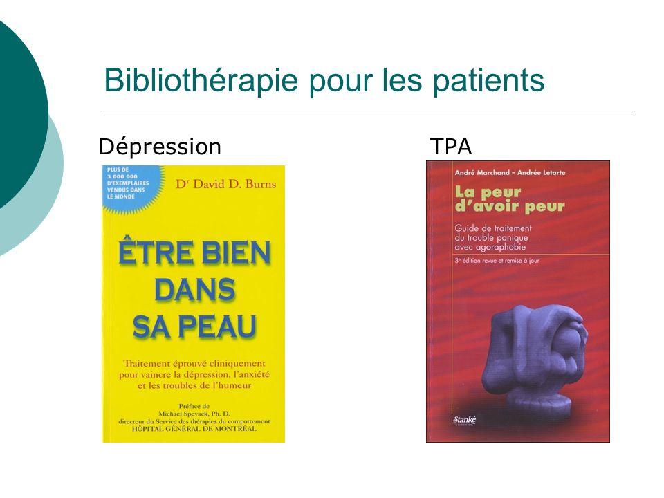 Bibliothérapie pour les patients DépressionTPA