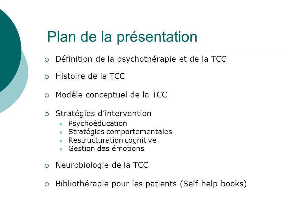 Plan de la présentation Définition de la psychothérapie et de la TCC Histoire de la TCC Modèle conceptuel de la TCC Stratégies dintervention Psychoédu