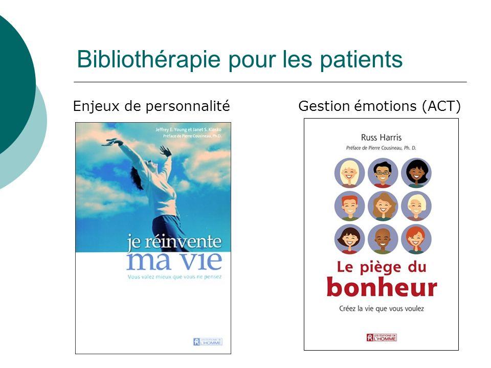 Bibliothérapie pour les patients Enjeux de personnalité Gestion émotions (ACT)